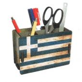 Werkhaus pencil-holder Greek flag