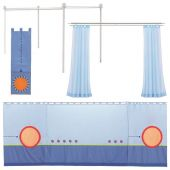 Matti Canopy Bed Conversion Kit Fabric trim blue