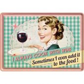 Nostalgic Metal Card Say it 50's Cook With Wine