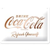 Nostalgic Μεταλλικός πίνακας Coca-Cola - Logo White Refresh Yourself