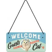 Nostalgic Μεταλλική κρεμαστή ταμπέλα Welcome Guests Cat