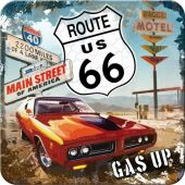 Nostalgic μεταλλικό σουβερ US Highways Route 66 Red Car Gas Up