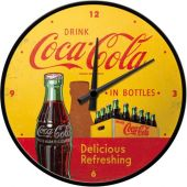 Nostalgic Ρολόι τοίχου Coca-Cola - In Bottles Yellow