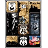 Nostalgic Magnet Set (9pcs) Route 66 Map Set