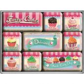 Nostalgic Magnet Set (9pcs) Home and Country Fairy Cakes - Delicious