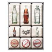 Nostgalgic Magnet Set (9pcs) Coca-Cola - Bottle Timeline