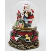 Christmas music Red snow globe Santa/stocking