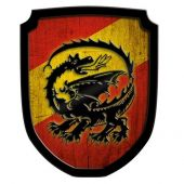 Wooden Shield Blazon Dragon red