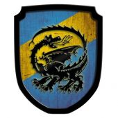 Wooden Shield Blazon Dragon blue