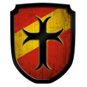 Wooden Shield Blazon Cross red