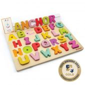 Svoora Wooden Alphabet Puzzle with 50 flash cards