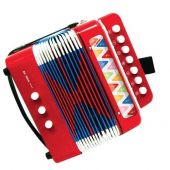 Red Accordion with 7 keys (14 tone)