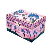 Svoora Musical Jewelry Box 'Ethereal' with Ring Holder, W/Mirror 'Happy Birds'
