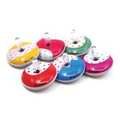 Svoora Mini Retro Spinning Tin Top 'Rainbow' (1 display with 18 pcs, 6 designs)