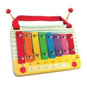 Svoora Wooden Metallophone Set C Major, 8 Notes with children song cards'The Radio'