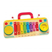 Svoora Wooden Metallophone Set C Major, 8 Notes with guiro and jingle 'The Boombox'