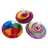 Svoora Mini Retro Spinning Tin Top 'Fantasy' (1 display with 18 pcs, 3 designs)
