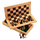 Portable wooden chess+case masiv rubberwood