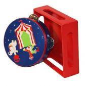Wooden tambourine 'Circus' with jingles, in wooden case