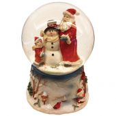 POLYRESIN XMAS SANTA and SNOWMAN WITH MUSICAL BOX WATERBALL 100MM
