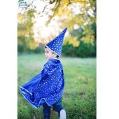 Great Pretenders Glitter Wizard Set Cape/Hat Blue 4-6
