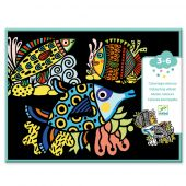 Djeco Small gift for little ones - Coloring velvet Pretty fishes